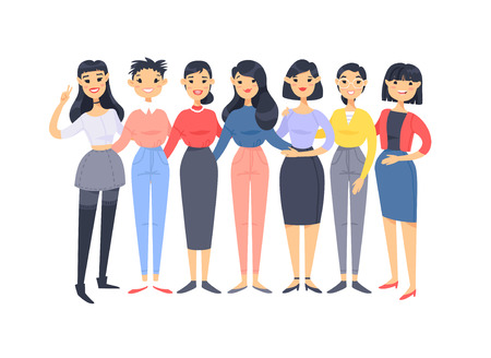Set of a group of different asian american women. Cartoon style characters. Vector illustration people