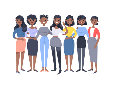 Set of a group of different african american women. Cartoon style characters. Vector illustration people Ilustração