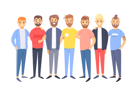 Set of a group of different caucasian men. Cartoon style european characters. Vector illustration american  people