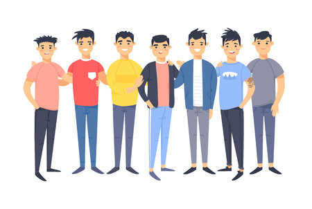 Set of a group of different asian american men. Cartoon style characters. Vector illustration people