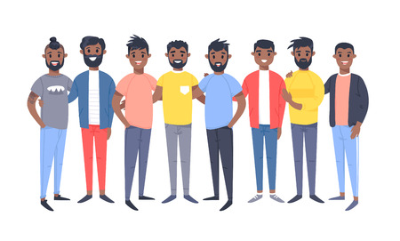 Set of a group of different african american men. Cartoon style characters. Vector illustration people
