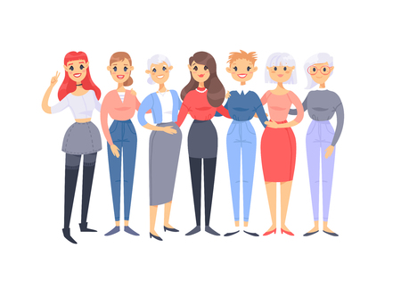 Set of a group of different caucasian women. Cartoon style european characters of different ages. Vector illustration american  people  イラスト・ベクター素材