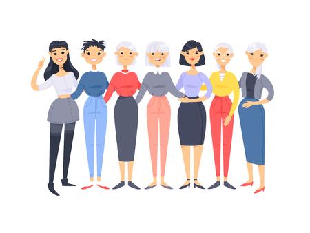 Set di un gruppo di diverse donne asiatiche americane. Personaggi in stile cartone animato di età diverse. Illustrazione vettoriale persone Vector