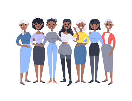 Set of a group of different african american women. Cartoon style characters of different ages. Vector illustration people