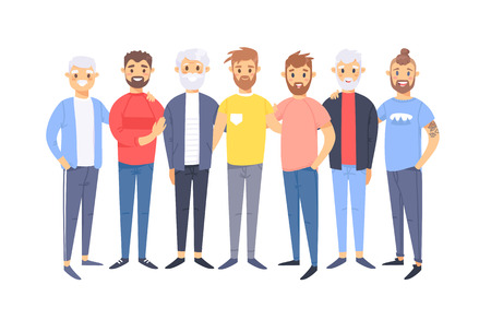 Set of a group of different caucasian men. Cartoon style european characters of different ages. Vector illustration american  people