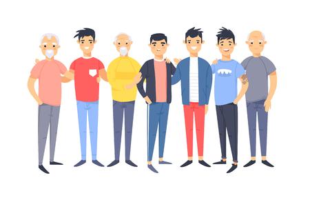 Ensemble d'un groupe de différents hommes américains d'origine asiatique. Personnages de style dessin animé d'âges différents. Gens d'illustration vectorielle