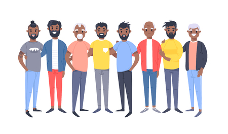 Set of a group of different african american men. Cartoon style characters of different ages. Vector illustration people