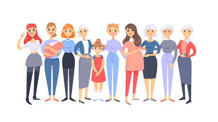 Set of a group of different caucasian women. Cartoon style european characters of different ages. Vector illustration american  people Illustration