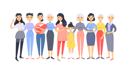 Set of a group of different asian american women. Cartoon style characters of different ages. Vector illustration people