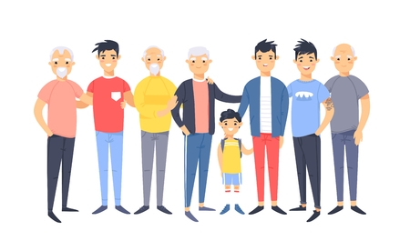 Satz einer Gruppe verschiedener asiatischer amerikanischer Männer. Zeichentrickfiguren unterschiedlichen Alters. Vektorillustrationsleute Vektorgrafik