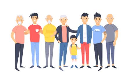 Set di un gruppo di diversi uomini americani asiatici. Personaggi in stile cartone animato di età diverse. Illustrazione vettoriale persone Vector Vettoriali