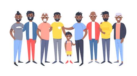 Ensemble d'un groupe de différents hommes afro-américains. Personnages de style dessin animé d'âges différents. Gens d'illustration vectorielle
