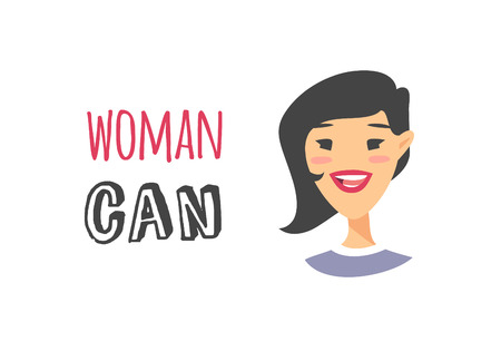 Cartoon style character Asian American girl. Vector illustration japanese or chinese women and feminism quote WOMAN CAN