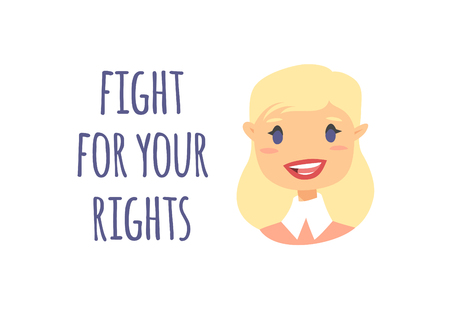 Cartoon style character American or European girl. Vector illustration caucasian women and feminism quote FIGHT FOR YOUR RIGHTS Çizim