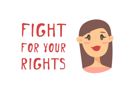 Cartoon style character American or European girl. Vector illustration caucasian women and feminism quote FIGHT FOR YOUR RIGHTS Иллюстрация