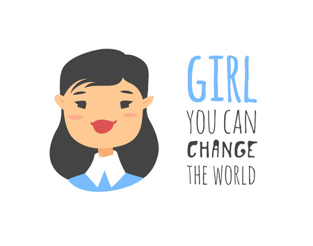 Cartoon style character Asian American girl. Vector illustration japanese or chinese women and feminism quote GIRL YOU CAN CHANGE THE WORLD  イラスト・ベクター素材