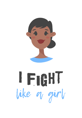 Cartoon style character African American girl. Vector illustration black women and feminism quote I FIGHT LIKE A GIRL