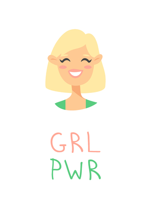 Cartoon style character American or European girl. Vector illustration caucasian women and feminism quote GRL PWR Çizim