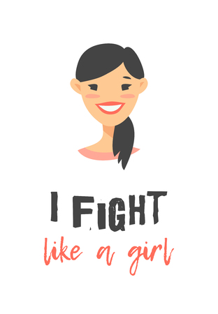 Cartoon style character Asian American girl. Vector illustration japanese or chinese women and feminism quote I FIGHT LIKE A GIRL
