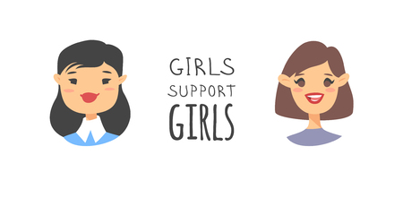 Cartoon style characters American or European girls. Vector illustration caucasian and asian women and feminism quote GIRLS SUPPORT GIRLS