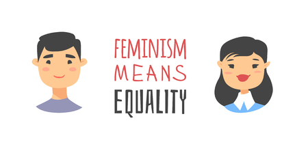 Cartoon style characters Asian American girl and boy. Vector illustration japanese or chinese women, men and feminism quote FEMINISM MEANS EQUALITY  イラスト・ベクター素材