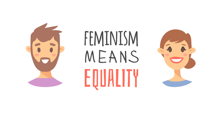 Cartoon style characters American or European girl and boy. Vector illustration caucasian women, men and feminism quote FEMINISM MEANS EQUALITY
