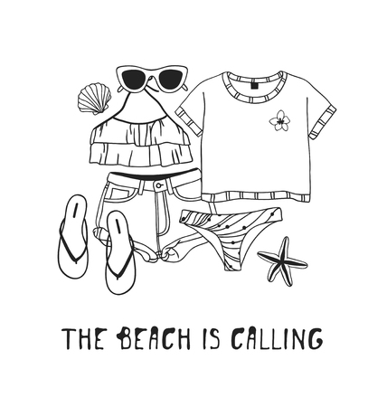 Hand drawn summer quote and illustration. Actual tropical vector background. Artistic doddle drawing. Creative ink art work and text  THE BEACH IS CALLING Stock Illustratie