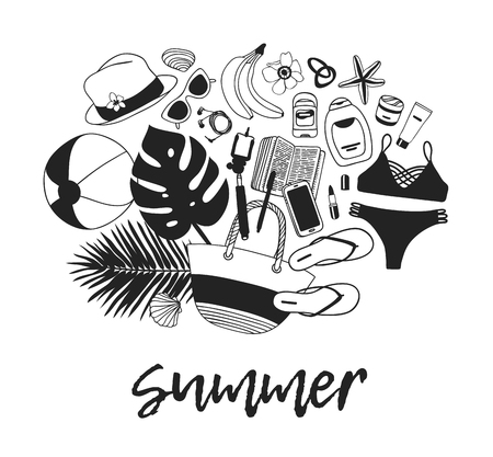 Hand drawn summer quote and illustration. Actual tropical vector background. Artistic doddle drawing. Creative ink art work and text  SUMMER
