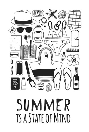 Hand drawn summer quote and illustration. Actual tropical vector background. Artistic doddle drawing. Creative ink art work and text  SUMMER IS A STATE OF MIND  イラスト・ベクター素材