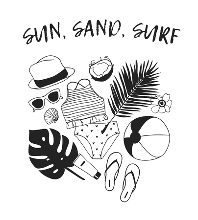 Hand drawn summer quote and illustration. Actual tropical vector background. Artistic doddle drawing. Creative ink art work and text  SUN, SAND, SURF
