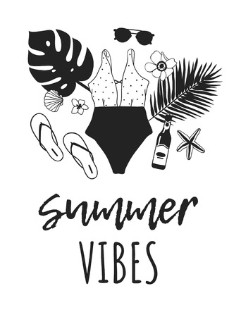 Hand drawn summer quote and illustration. Actual tropical vector background. Artistic doddle drawing. Creative ink art work and text SUMMER VIBES