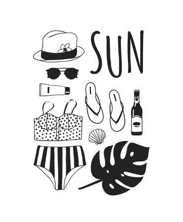 Hand drawn summer quote and illustration. Actual tropical vector background. Artistic doddle drawing. Creative ink art work and text SUN