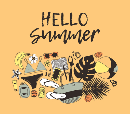 Hand drawn summer quote and illustration. Actual tropical vector background. Artistic doddle drawing. Creative ink art work and text HELLO SUMMER