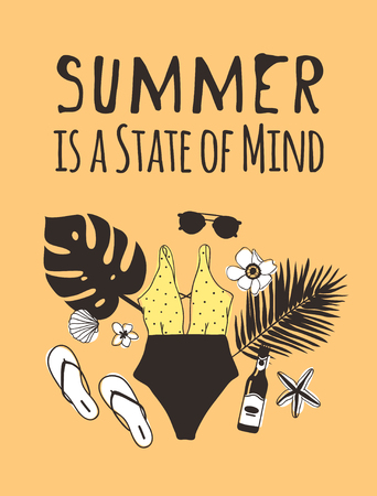 Hand drawn summer quote and illustration. Actual tropical vector background. Artistic doddle drawing. Creative ink art work and text  SUMMER IS A STATE OF MIND Illustration