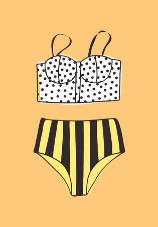 Hand drawn summer bikini illustration. Actual tropical vector background. Artistic doodle drawing. Creative ink art work