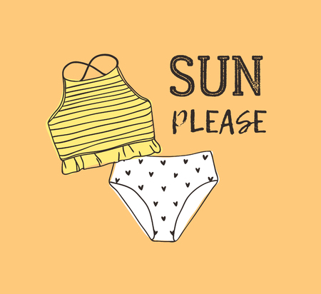 Hand drawn summer quote and bikini illustration. Actual tropical vector background. Artistic doodle drawing. Creative ink art work and text SUN PLEASE Stock fotó - 128486896