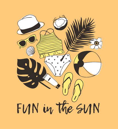 Hand drawn summer quote and illustration. Actual tropical vector background. Artistic doddle drawing. Creative ink art work and text FUN IN THE SUN