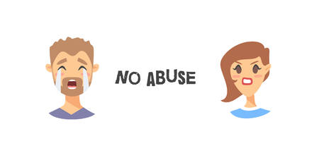 Set of text and girl and boy. Cartoon style emotional characters. Vector illustration men and women and quote NO ABUSE