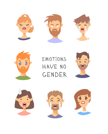 Set of text and girl and boy. Cartoon style emotional characters. Vector illustration men and women and quote EMOTIONS HAVE NO GENDER Illustration