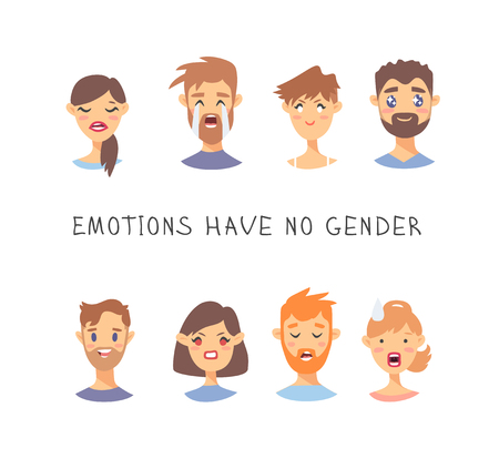 Set of text and girl and boy. Cartoon style emotional characters. Vector illustration men and women and quote EMOTIONS HAVE NO GENDER Ilustração