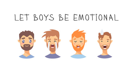 Set of text and boys. Cartoon style emotional characters. Vector illustration men and quote LET BOYS BE EMOTIONAL Illustration