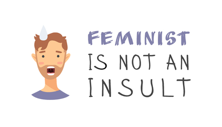 Set of text and boy. Cartoon style emotional character. Vector illustration men and quote FEMINISM IS NOT INSULT