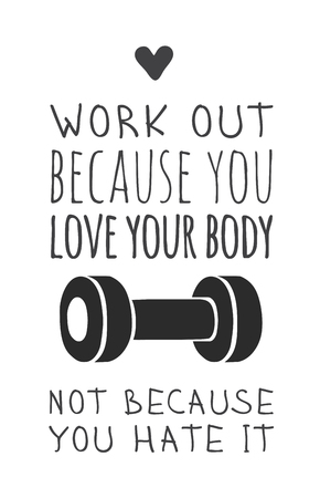 Hand drawn illustration and text. Positive quote about work out for today and doodle style element. Creative ink art work. Actual vector drawing Illustration
