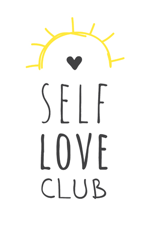 Hand drawn illustration and text. Positive quote SELF LOVE CLUB for today and doodle style element. Creative ink art work. Actual vector drawing Illustration