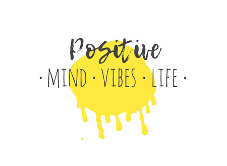 Hand drawn illustration and text. Positive MIND VIBES LIFE quote for today and doodle style element. Creative ink art work. Actual vector drawing Ilustração