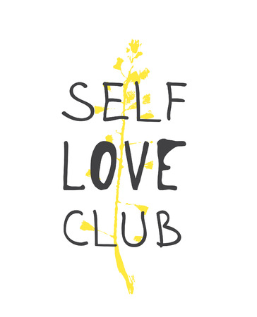 Hand drawn illustration and text. Positive quote SELF LOVE CLUB for today and doodle style element. Creative ink art work. Actual vector drawing Stock Illustratie