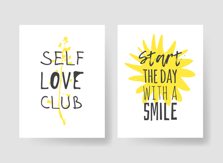 Set of 2 cards with Hand drawn illustration and text. Positive quote for today and doodle style element. Creative ink art work. Actual vector drawing Banco de Imagens - 128486961