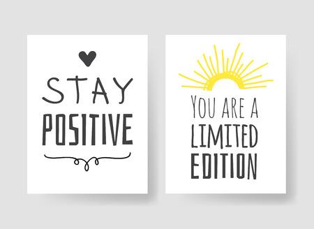 Set di 2 carte con illustrazione e testo disegnati a mano. Citazione positiva per oggi e elemento in stile scarabocchio. Opera d'arte creativa dell'inchiostro. Disegno vettoriale reale