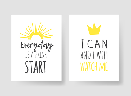 Set of 2 cards with Hand drawn illustration and text. Positive quote for today and doodle style element. Creative ink art work. Actual vector drawing