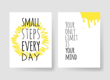 Ensemble de 2 cartes avec illustration et texte dessinés à la main. Citation positive pour aujourd'hui et élément de style doodle. Oeuvre d'art à l'encre créative. Dessin vectoriel réel Vecteurs